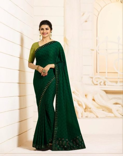 Pure Silk with Silk Georgette Royal Designer Sare In Prachi Desai Style