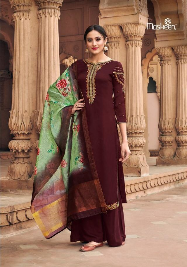 New Fancy Heavy Designer Suits And With Dupatta In Rosewood Colour