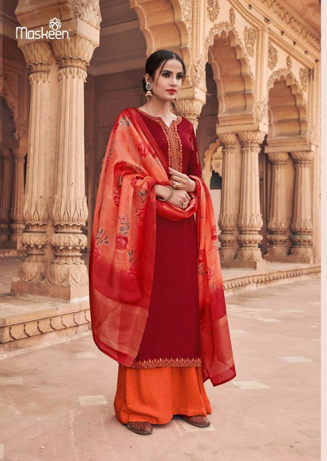 New Fancy Heavy Designer Salwar Suits And With Dupatta In Carmine Colour