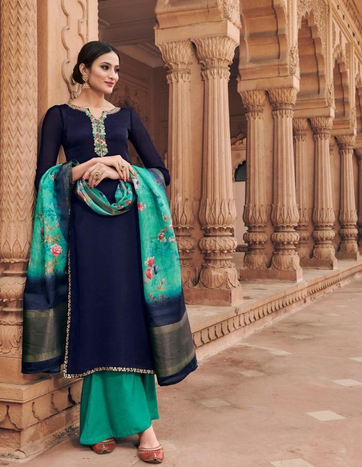 New Fancy Heavy Designer Salwar Suits And With Dupatta In Navy Blue Colour
