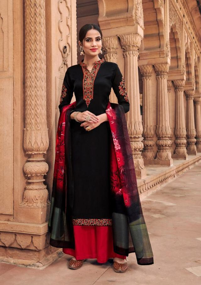 New Fancy Heavy Designer Salwar Suits And With Dupatta In Black Colour