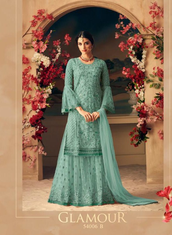 New Fancy Heavy Designer Printed Sharara In Aqua Colour