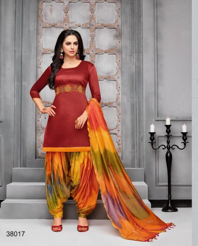 New Fancy Patiala Salwar Suits In Colour Carmine Colour
