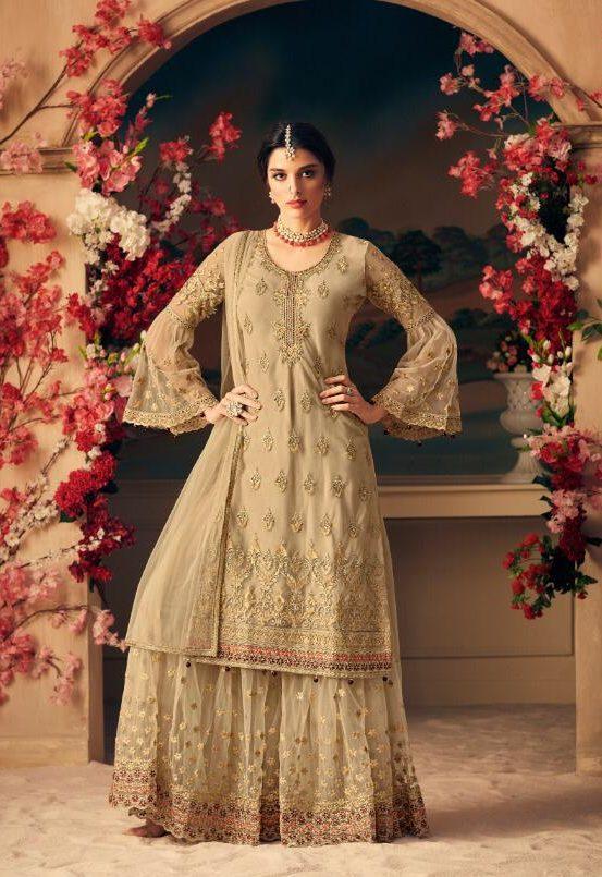New Fancy Heavy Designer Printed Sarara In Tan Colour