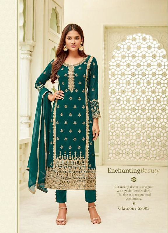 New Fancy Heavy Embroidered Salwar Suits With Dupatta In Green Papaya Colour