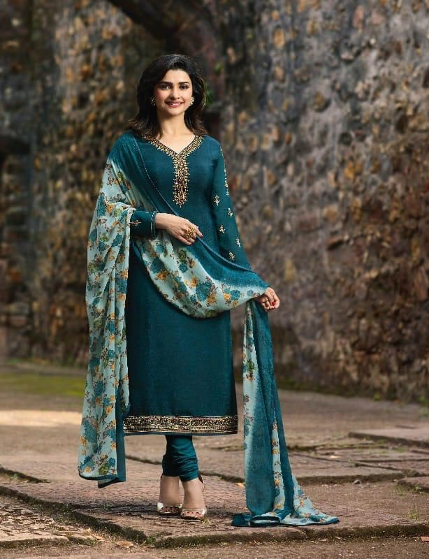 New Fancy Heavy Designer Printed Salwar Suits In Pine Colour