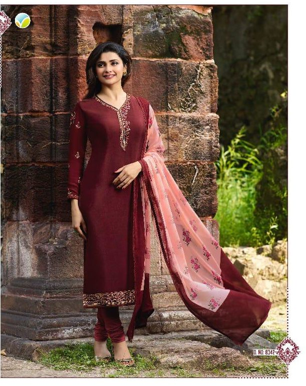 New Fancy Heavy Designer Printed Salwar Suits In Marron Colour