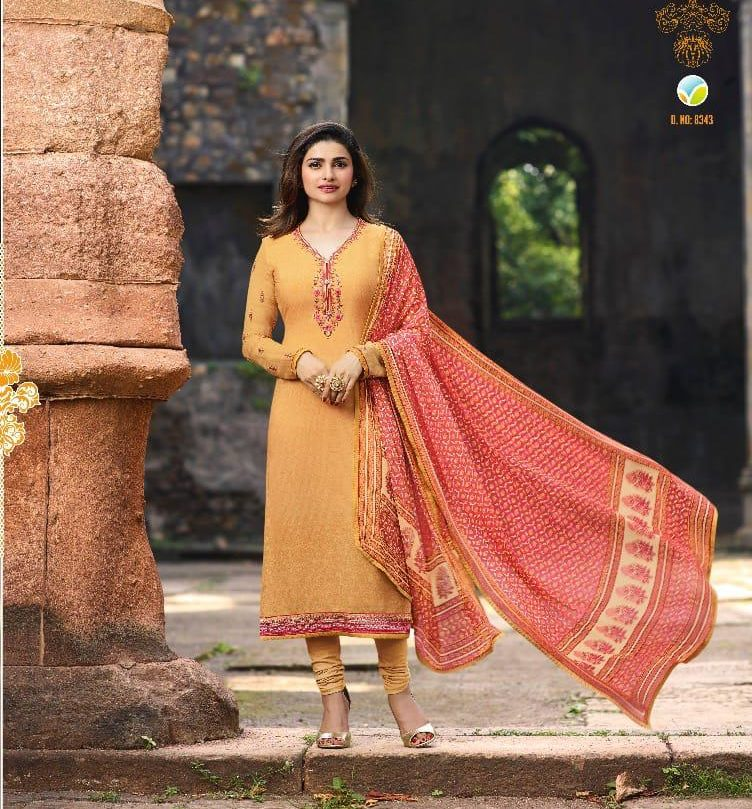 New Fancy Heavy Designer Printed Salwar Suits In Yellow Colour