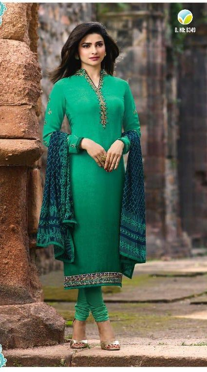 New Fancy Heavy Designer Printed Salwar Suits In Green Colour