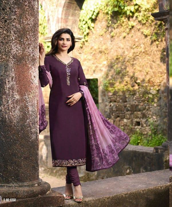 New Fancy Heavy Designer Printed Salwar Suits In Eggplant Colour