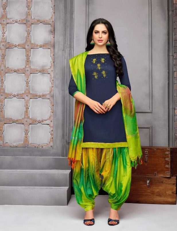 New Fancy Paliala Salwar Suits In Navy Blue Colour