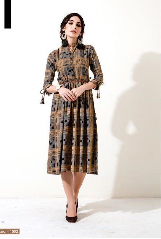 New Stylish Pattern Fancy Kurti In Brown Colour