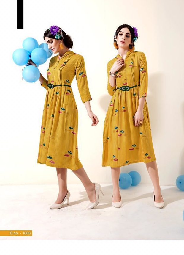 New Stylish Pattern Fancy Kurti In Yellow Colour