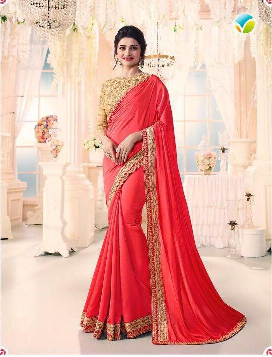 New Fancy Heavy Designer Sarees With Blause In Red Colour