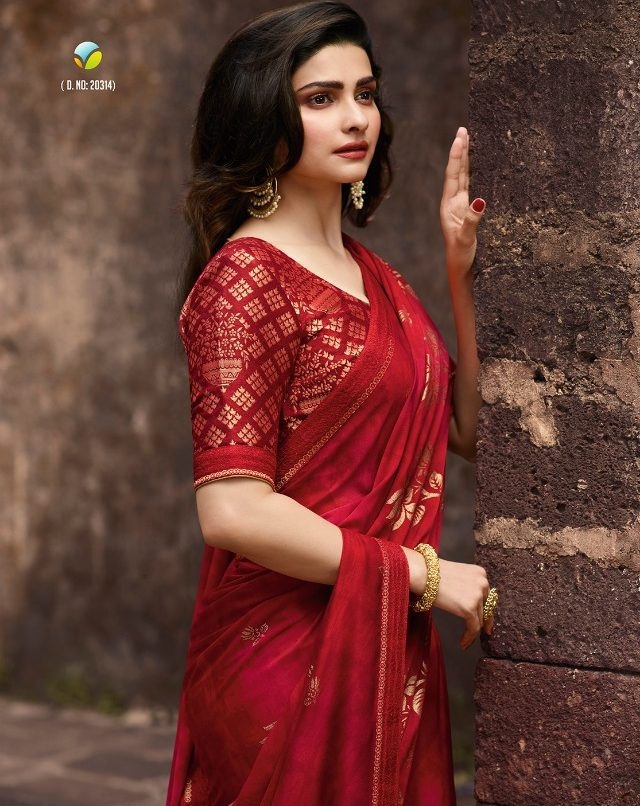 Sequence Saree in Prachi Desai Style in Carmine Colour