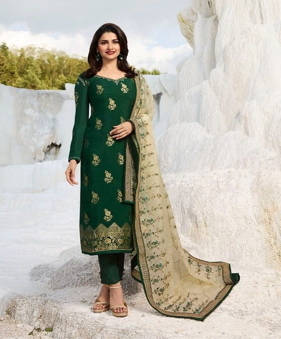 Green Colour Heavy Embroidered Georgette Salwar Suits with Heavy Dupatta