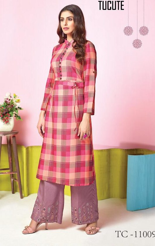 Check Print Long Kurta with Embroidered Palazzo