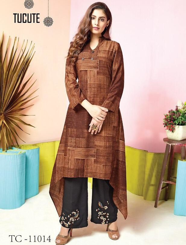 Almond Colour Kurta with Black Palazzo