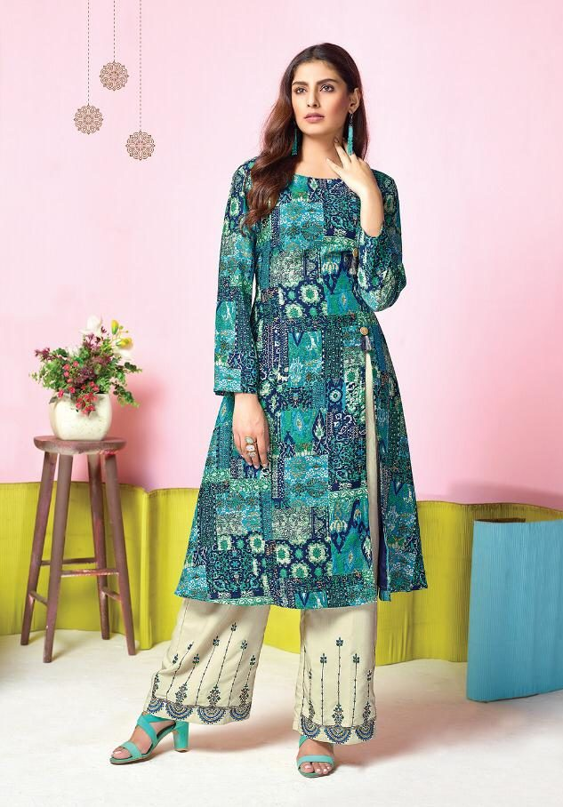 Nice Combination of Embroidered Palazzo with Top in jade colour