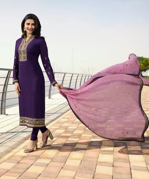 Purple Salwar Suits in Heavy Embroidery with Embroidered Dupatta