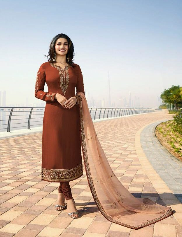 Copper Colour Heavy Embroidered Salwar Suits with Embroidered Contrast Dupatta