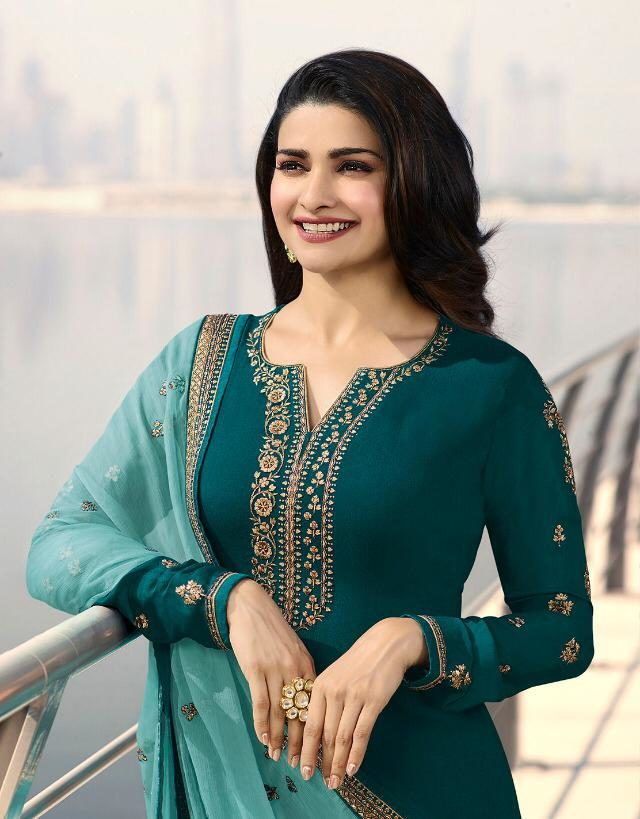 Jade Colour Salwar Suits in Heavy Embroidery with Embroidered Contrast Dupatta