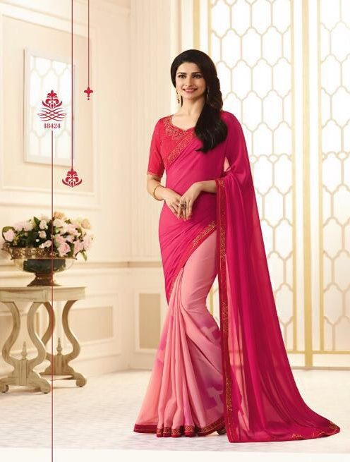 Prachi Desai Style Royal Designer Saree in Hot Pink Double Shaded