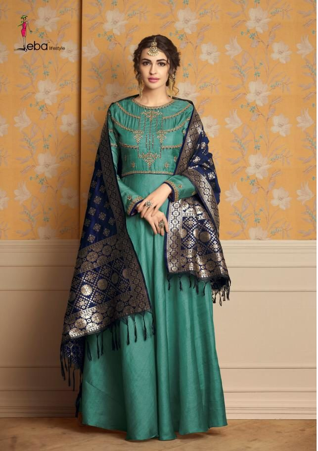 Front and Back Print Latest Designer Gown with Contrast Banarsi Jacquard Dupatta