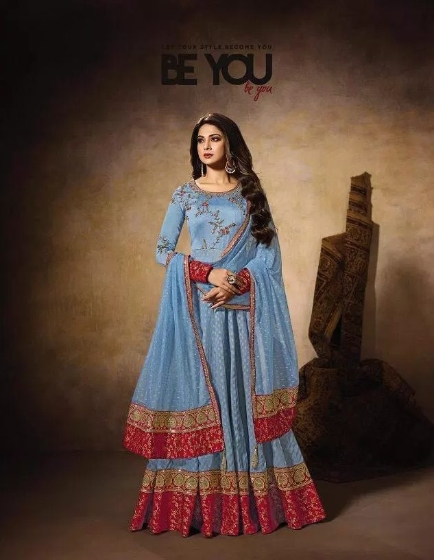 Zoya Style New Fashion Wedding Party Wear Gown in Paleblue Colour