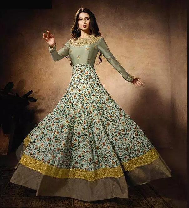 Bisque Colour Latest Party Wear Shahi Dress