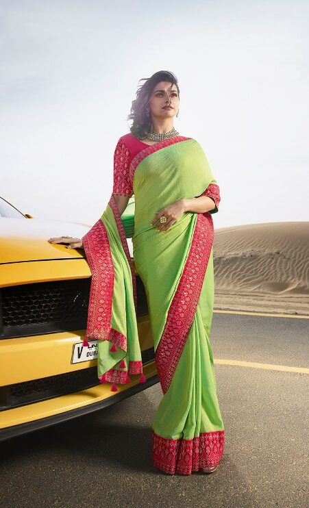 New Fancy Heavy Embroidered Saree With Embroidered Blouse in Green Colour