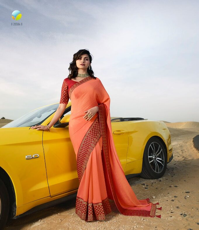 Heavy Embroidered Saree With Heavy Embroidered Blouse in Orange Colour