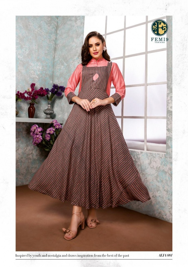 New Fancy Anarkali Style Kurti in Brown Colour