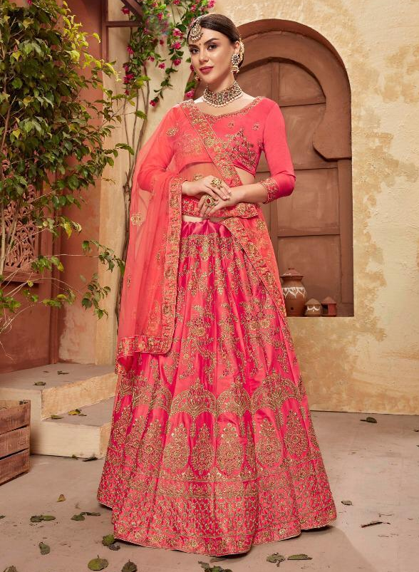 Carrot Colour Latest Designer Ghagra Choli