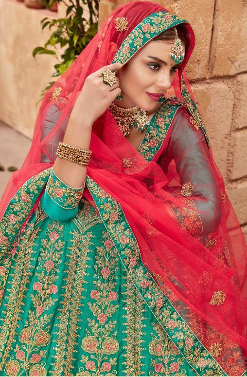 Turquoise  Colour Wedding Party Wear Lehenga Choli