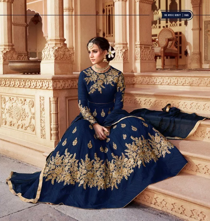 Wedding Party Wear Designer Navy Blue Colour Gown