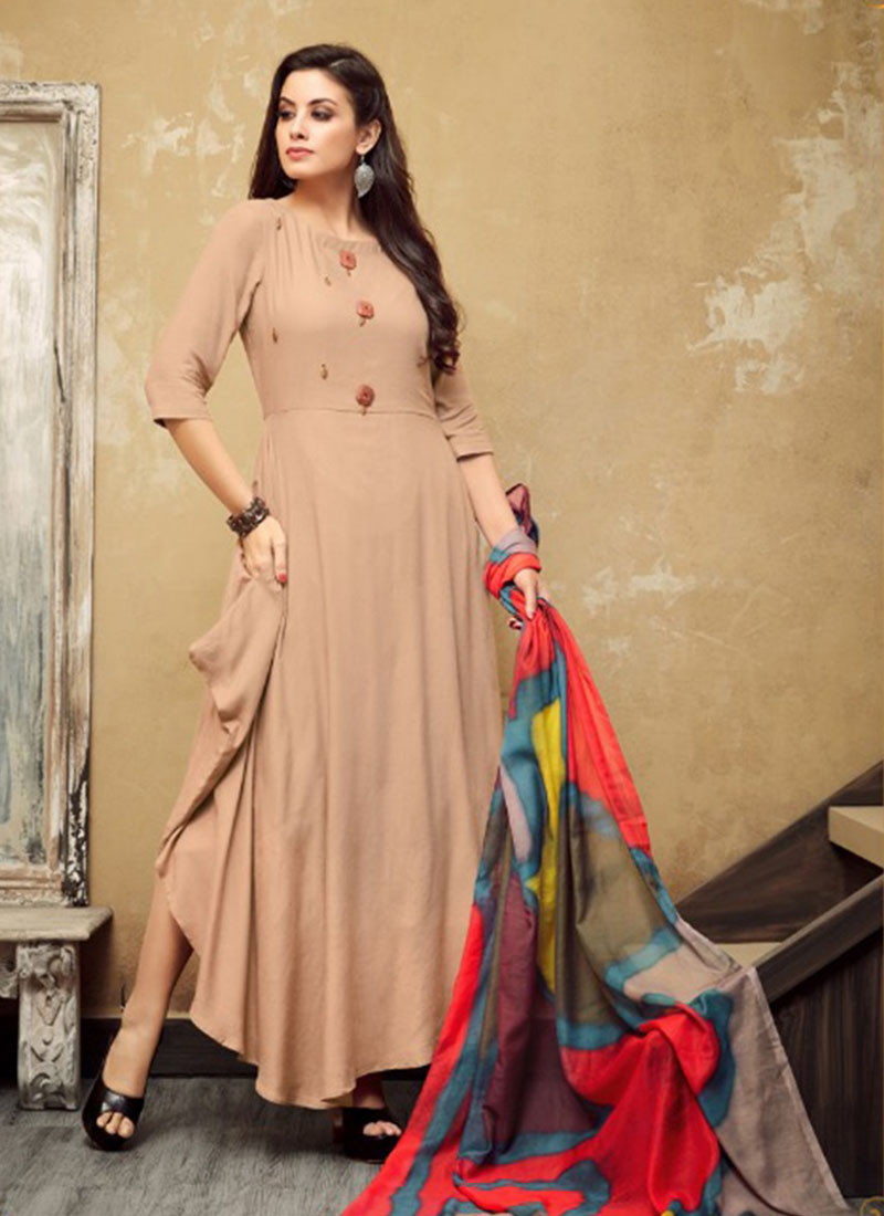 Peach Colour Heavy Reyon Gown with Malmal Dupatta