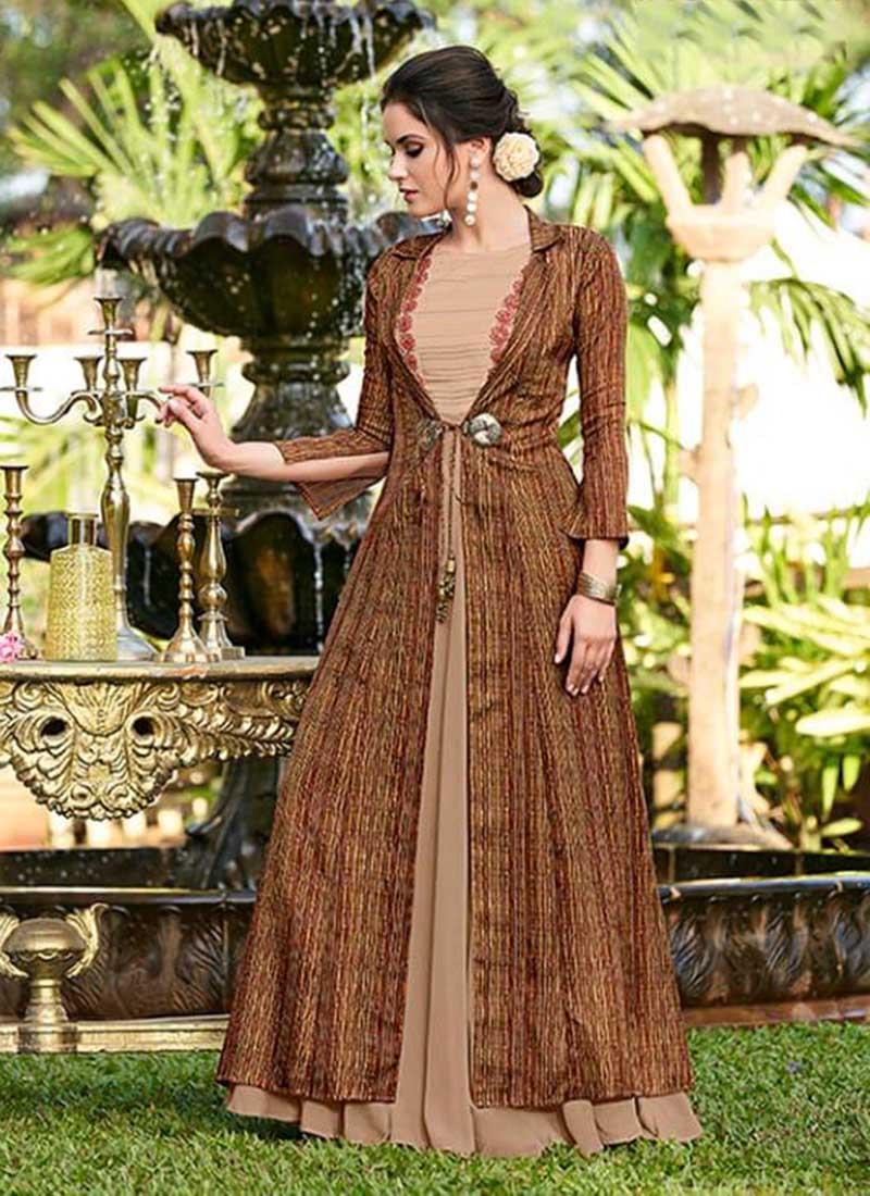 Beige Colour Linen Satin Embroidery Work Latest Party Wear Gown