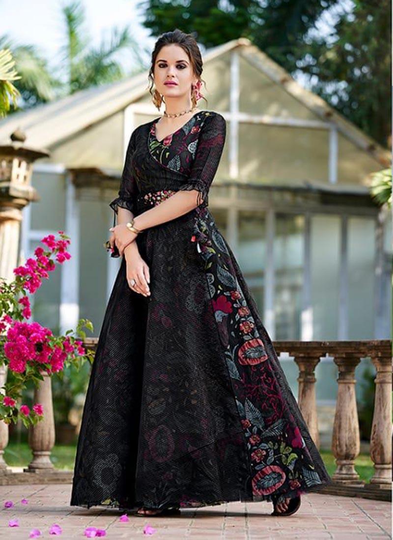 Wedding Party Wear Organza Black Printed Latest Fashion Gown