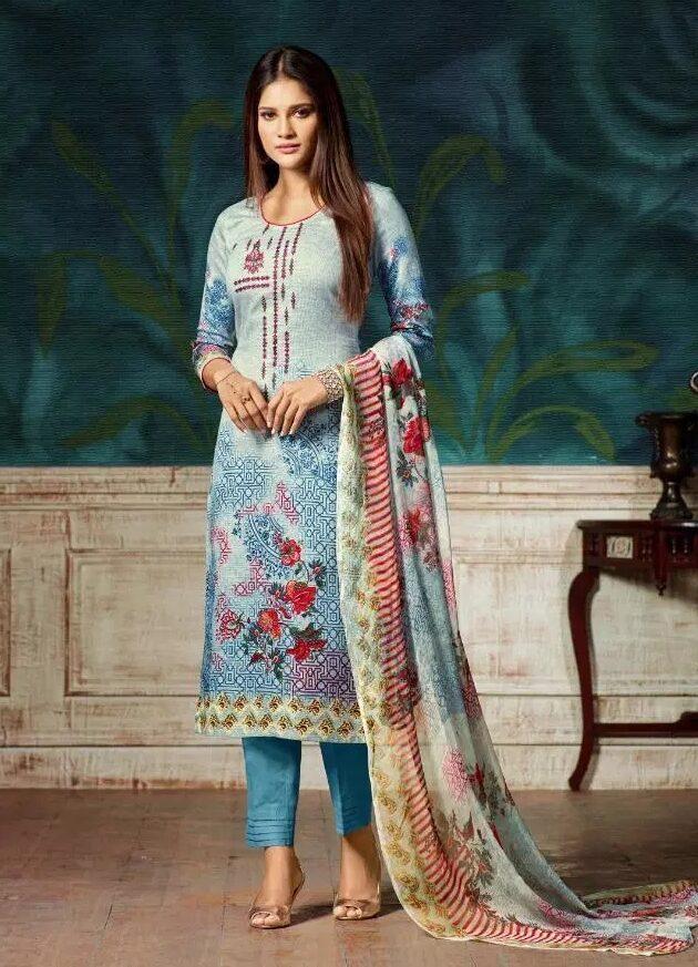 Summer Wear Digital Embroidered Cotton Babyblue Salwar Suits