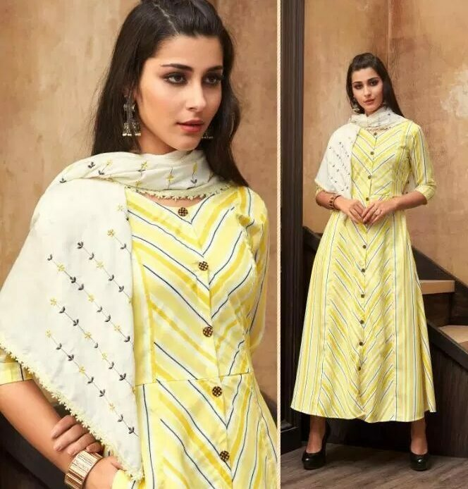 Mustard Colour Long Kurti with Pretty Embroidered Scarf