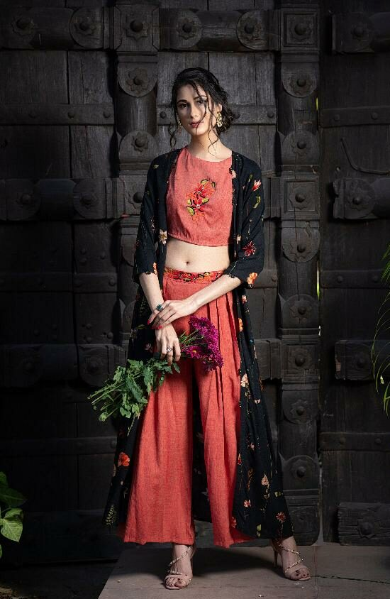 Pure Fashion Arrived Just Embroidered Palazzo with Embroidered Top and Shrug