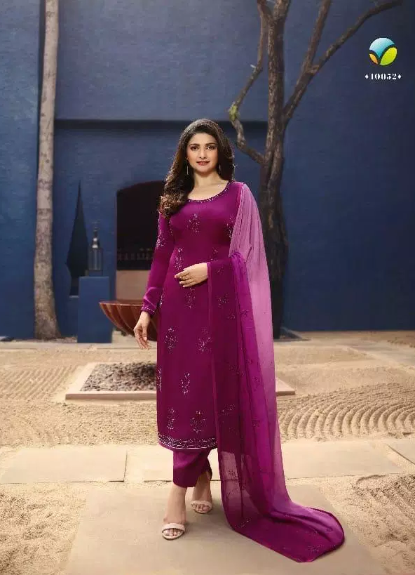 Brinjal-cum-Purple Colour Prachi Desai Style Heavy Embroidered Salwar Kameez