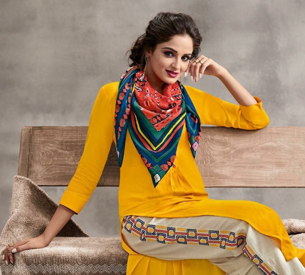 Lt Fabrics Royal Palazo with Long Designer Kurta in Yellow with Scarf