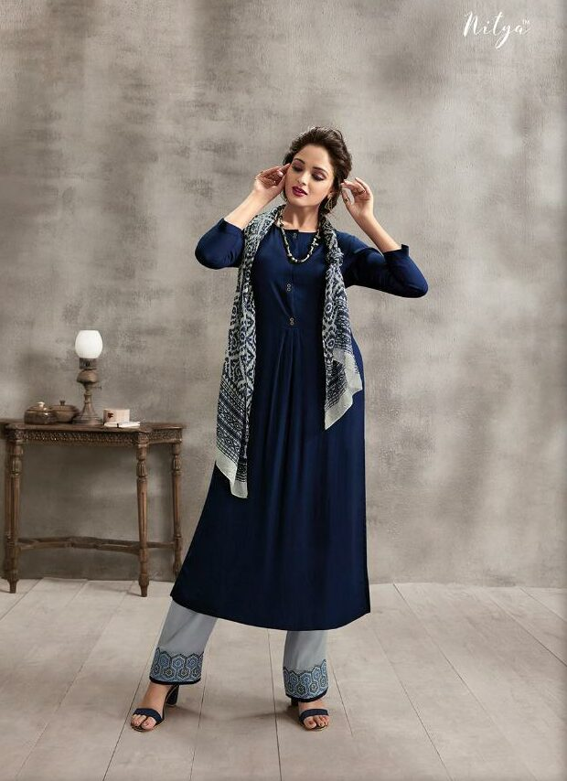 Steelblue Colour Long Kurta with Designer Embroidered Palazzo with Royal Scarf