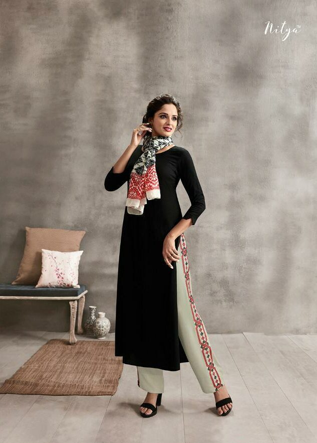 Latest Designer Cream Colour Palazzo with Black Long Kurta and Scarf