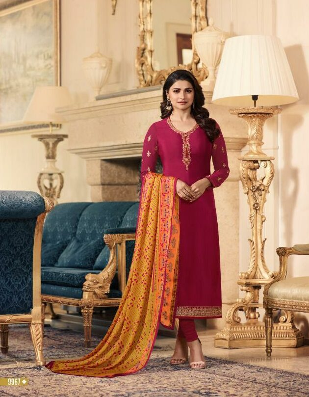 Crimson Colour Prachi Desai Style Bollywood Party Wear Dress