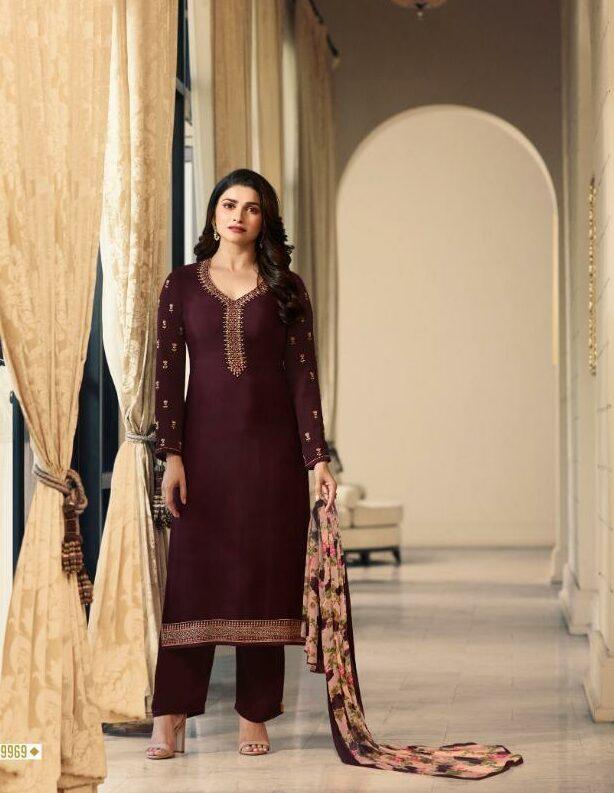 Plum Colour Shahi Libas in Prachi Desai Style Bollywood Dress
