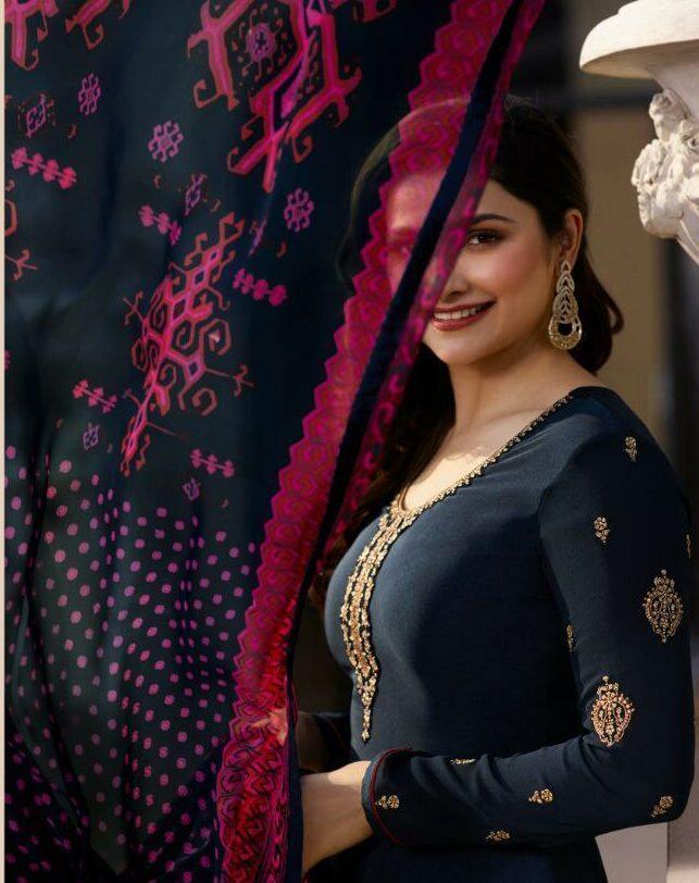 Steelblue Party Wear Suit Salwar in Prachi Desai Style