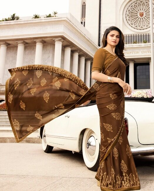 Chocolate Colour Prachi Desai Saree with Designer Blouse